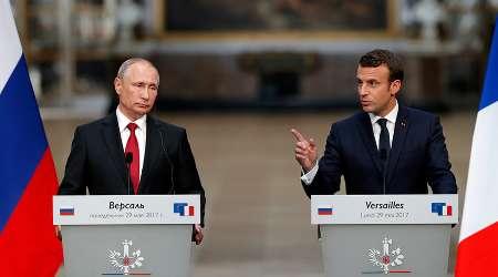 نخستین ملاقات ولادیمیر پوتین و امانوئل ماکرون در فرانسه