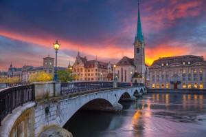 غروب شهر زوریخ سوئیس